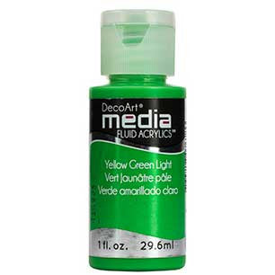 Deco Art Media Fluid Acrylic Paint 1oz - Yellow Green Light