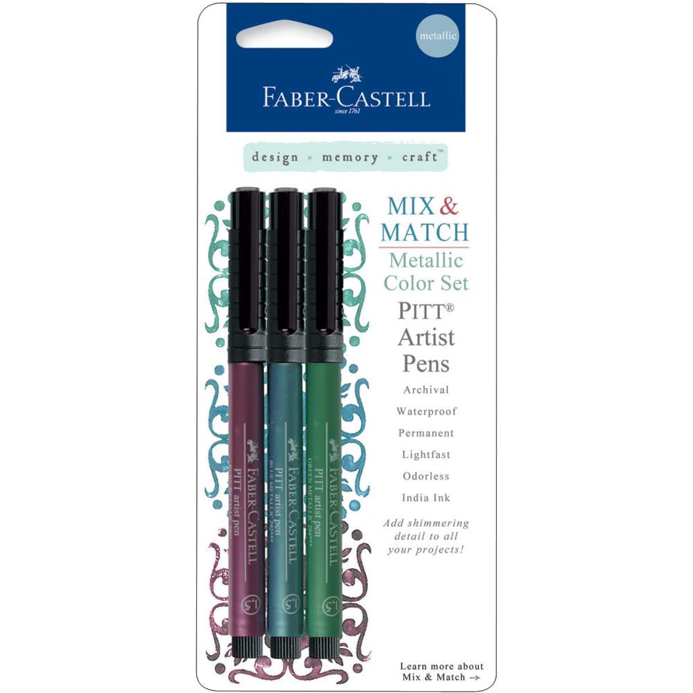 Faber-Castell - Mix & Match Metallic PITT Artist Pens 3/Pkg - Ruby, Blue & Green