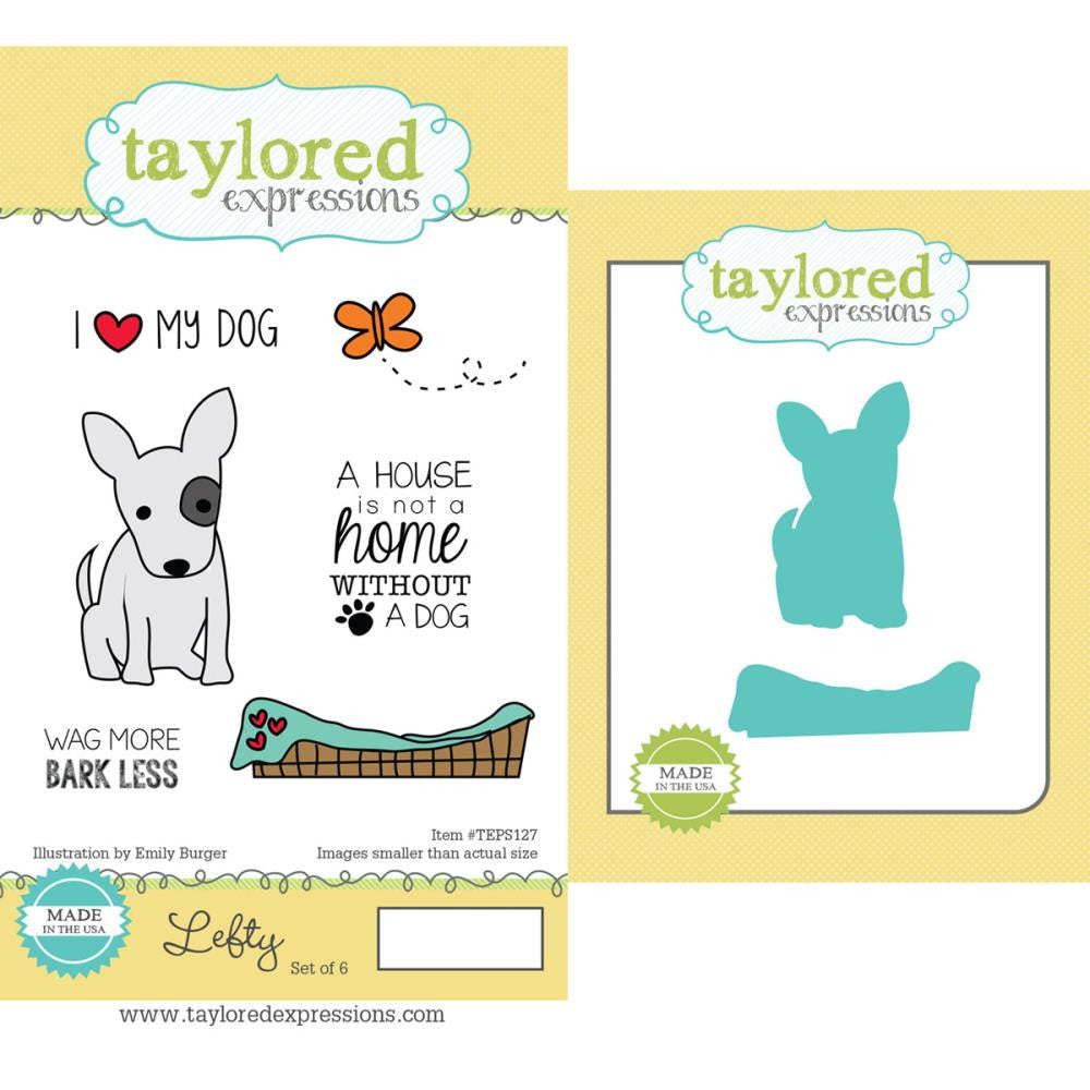 "Taylored Expressions Cling Stamp & Die Set 5.5""X3"" - Lefty"