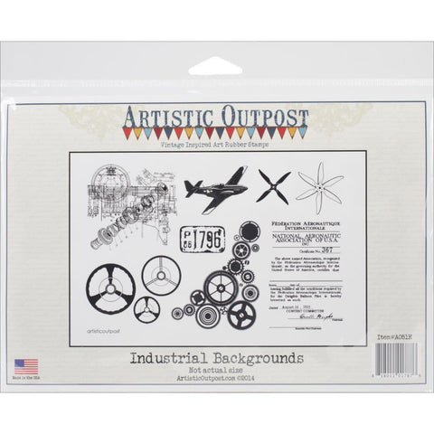 "Artistic Outpost Cling Stamps 9""X7"" - Industrial Background"