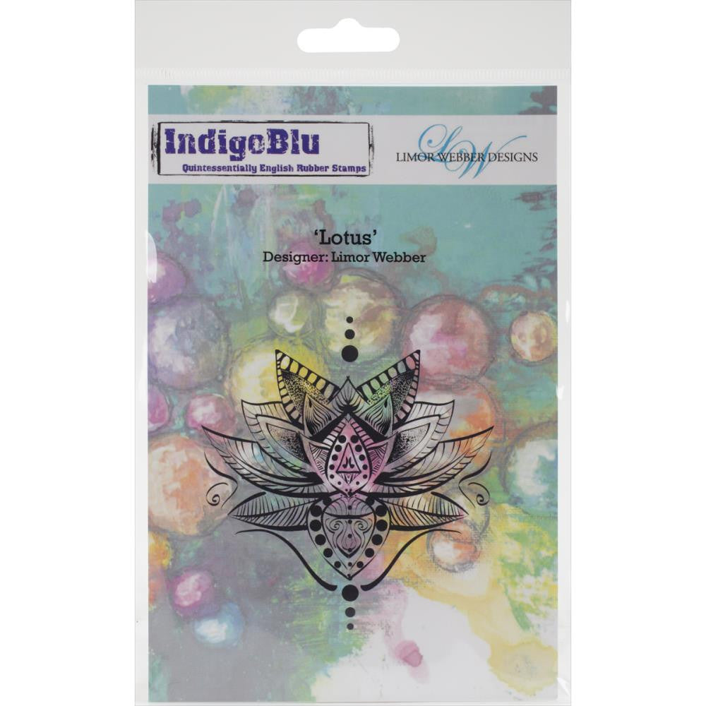 "IndigoBlu Cling Mounted Stamp 7.5"" x 5"" - Lotus by Limor Webber"