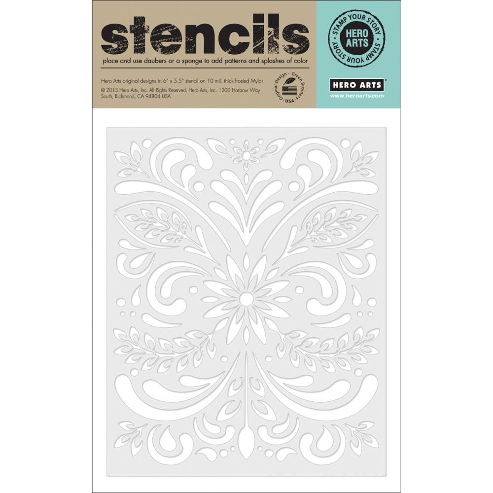 Basic Grey Vivienne Frosted Mylar Stencil By Hero Arts - Leaf & Flourish