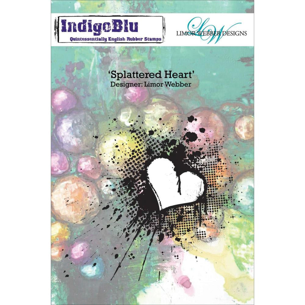 "IndigoBlu Cling Mounted Stamp 5""X4""- Splattered Heart by Limor Webber"