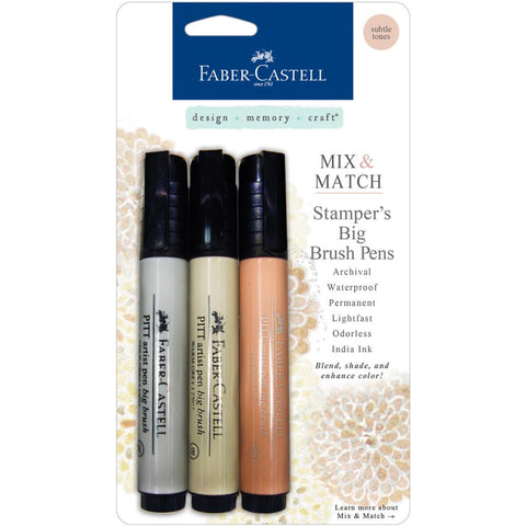 Faber-Castell Mix & Match Stamper's PITT Big Brush Pen Set 3/Pkg - Subtle Tones