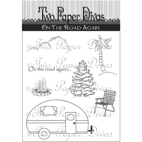 "Two Paper Divas Clear Stamps 7.5""X6"" - On the Road Again"