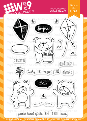 WPlus9 Design Studio - Friends For All Seasons: Summer Stamp Set (Coordinates With Friends For All Seasons: Summer Die Set)