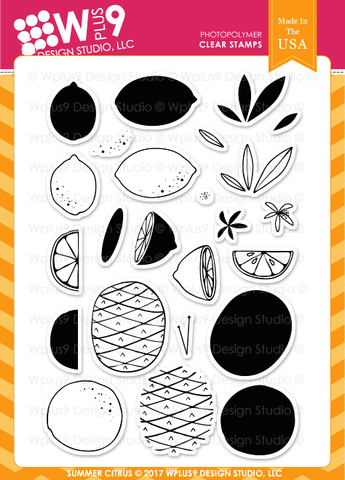 WPlus9 Design Studio - Stamp Set - Summer Citrus
