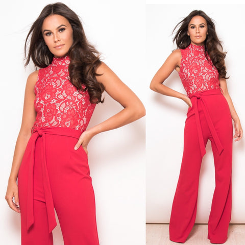 Tamara Red Lace Jumpsuit