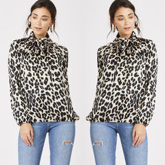25Ten & Co Boutique Tops Leopard Pussybow Blouse [product_tags] - 25Ten & Co Boutique