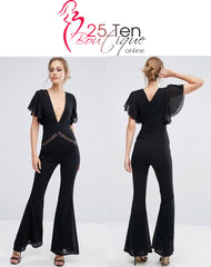 Dark Pink London Jumpsuits & Playsuits Lace Cutaway Jumpsuit [product_tags] - 25Ten & Co Boutique
