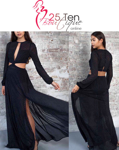 Black Cutaway Maxi Dress