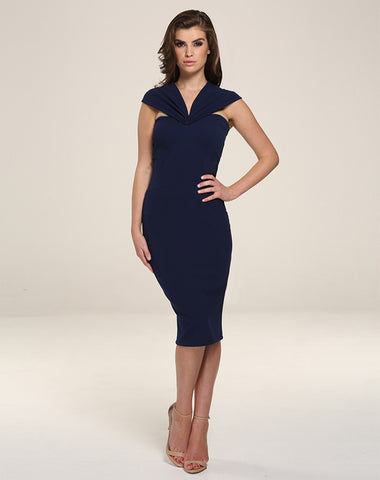 Mila Midi Dress - Navy