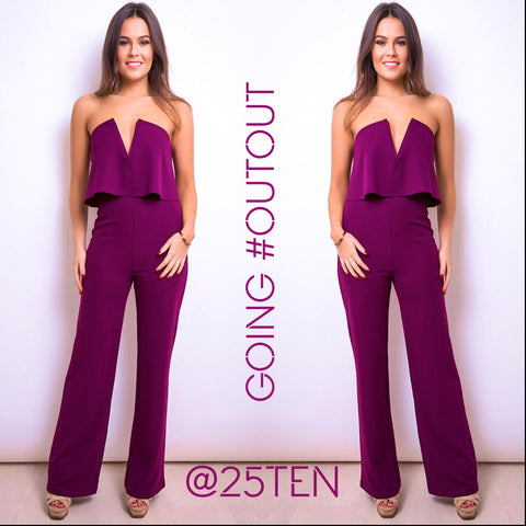 Grape Bandeau Jumpsuit
