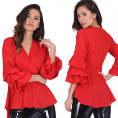 25Ten & Co Boutique Tops Red Ruffle Top [product_tags] - 25Ten & Co Boutique