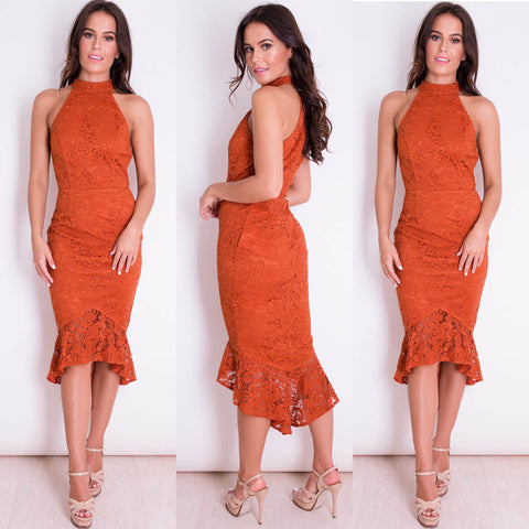 Rust Lace Fishtail Dress