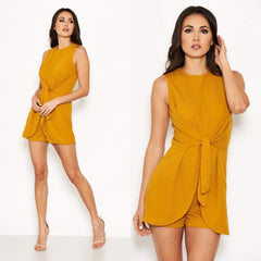 25Ten & Co Boutique Jumpsuits & Playsuits Mustard Tie Playsuit [product_tags] - 25Ten & Co Boutique