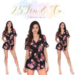 25Ten & Co Boutique Jumpsuits & Playsuits Black Floral Playsuit [product_tags] - 25Ten & Co Boutique