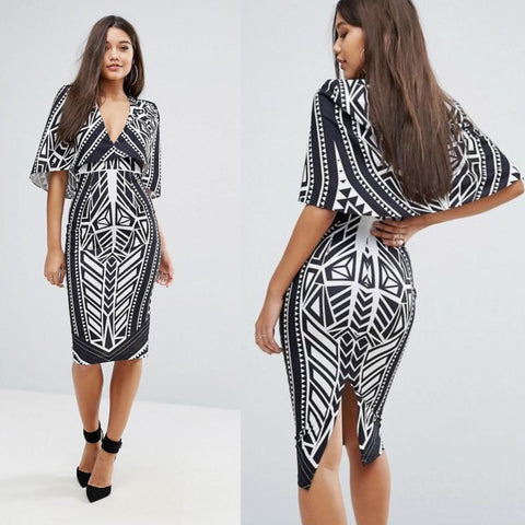 Monochrome Cape Dress