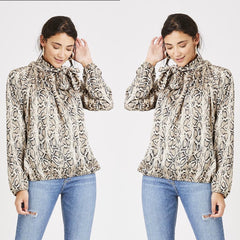 25Ten & Co Boutique Tops Snake Pussybow Blouse [product_tags] - 25Ten & Co Boutique