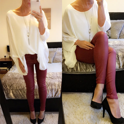 Wine Faux Leather Coated Jean
