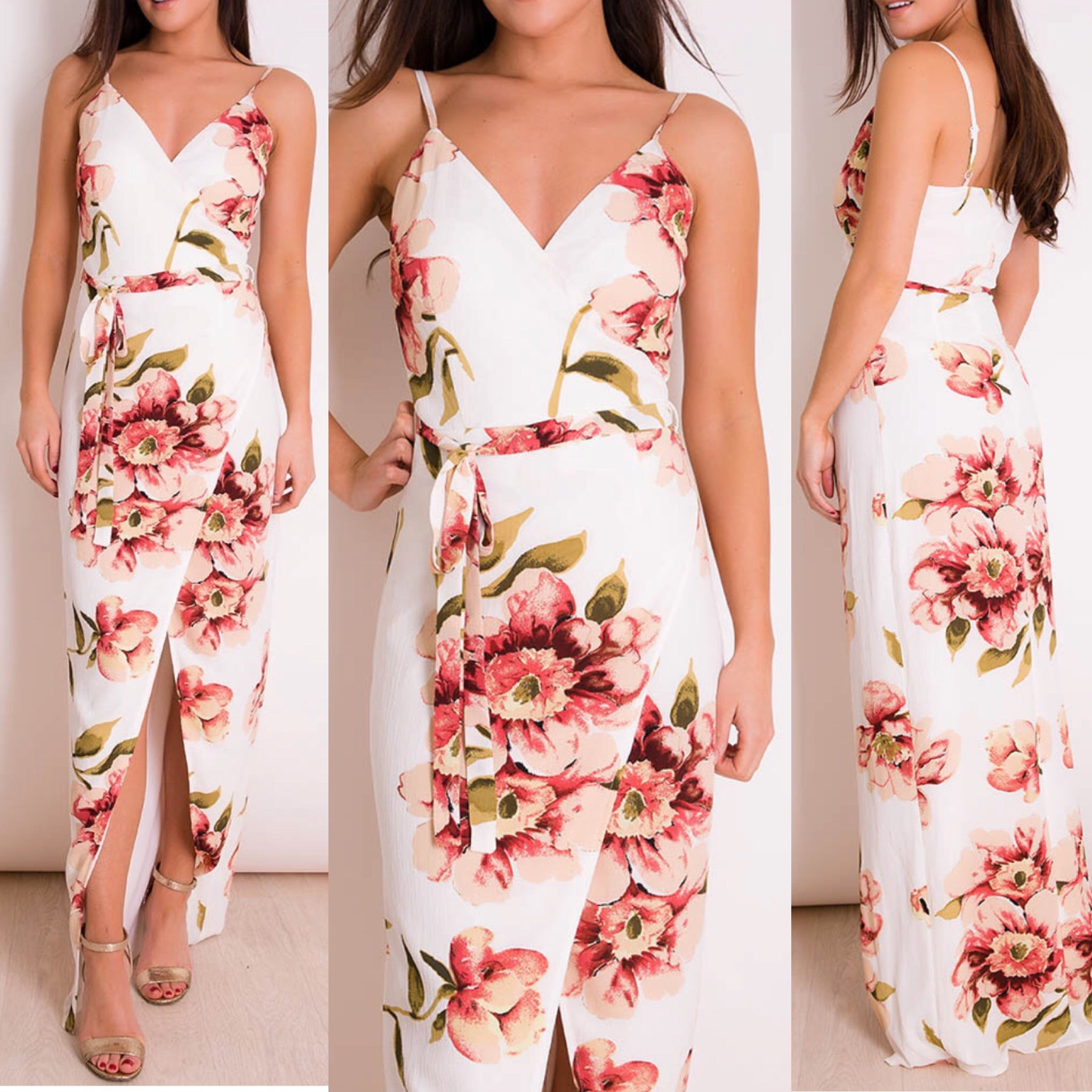 25Ten & Co Boutique Dresses 'Beau' Floral Print Wrap Maxi [product_tags] - 25Ten & Co Boutique