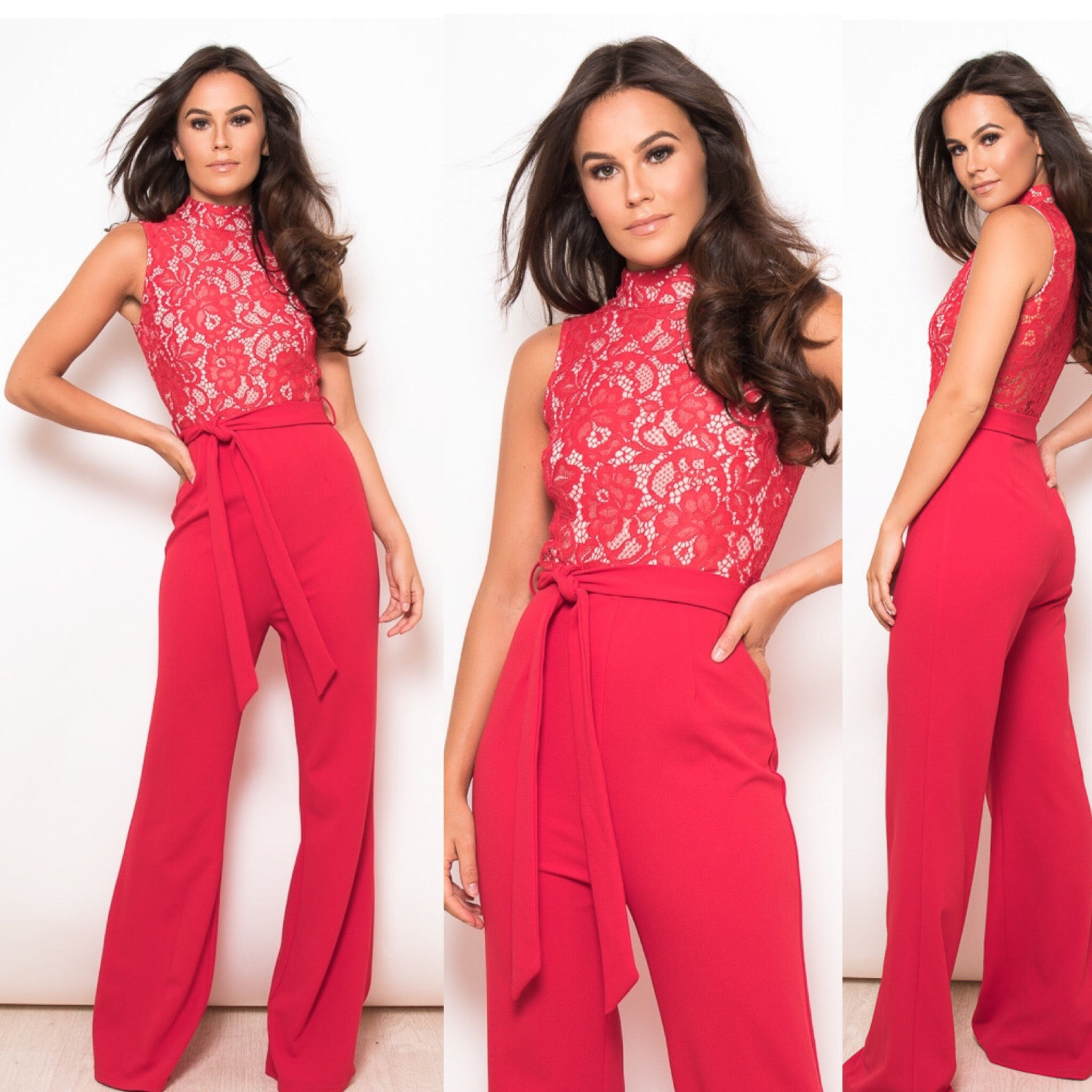 25Ten & Co Boutique Jumpsuits & Playsuits Tamara Red Lace Jumpsuit [product_tags] - 25Ten & Co Boutique