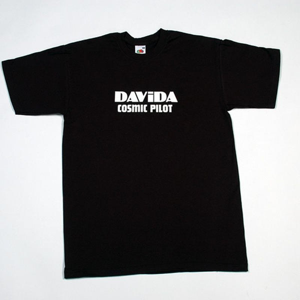 DAVIDA T-SHIRT - BLACK WITH WHITE DAVIDA COSMIC PILOT LOGO - Davida Apparel