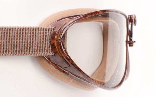 Aviator Retro Standard Goggles - Brown Pneumatic Rubber - Davida Goggles