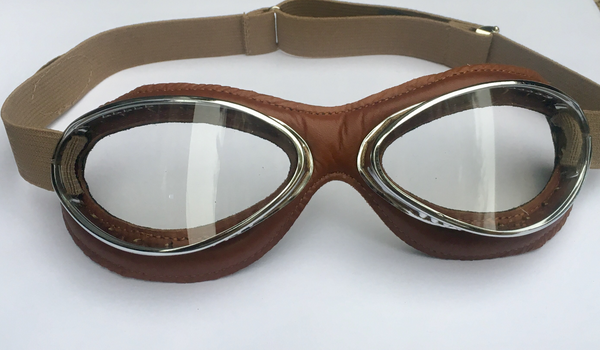 Aviator Retro Standard Mask Goggles - Brown Leather - Davida Goggles