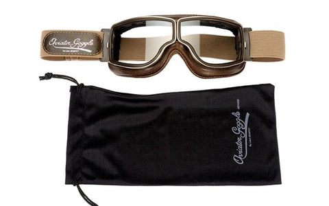 Aviator Retro Pilot T2 Optical Goggles - Brown Leather - Davida Goggles