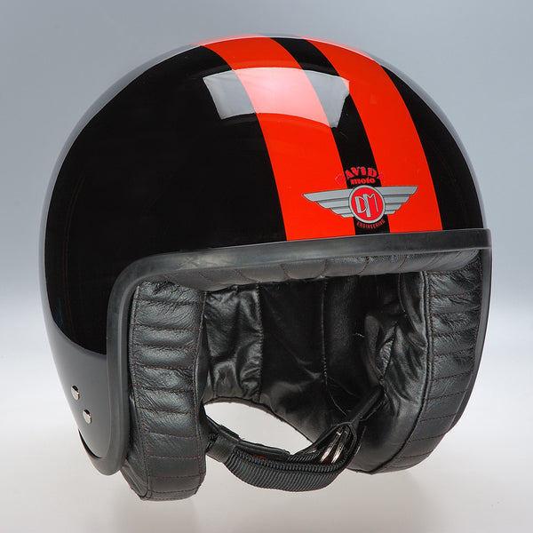 Davida Jet Helmet - Black 2P Orange Stripe - Davida Motorcycle Helmet