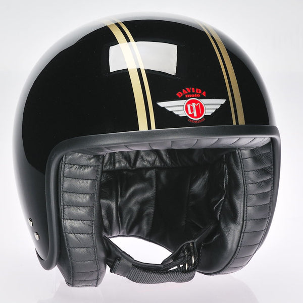 Davida Jet Helmet - Black Gold Ps - Davida Motorcycle Helmet