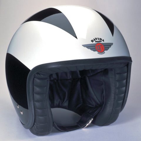 Davida Ninety Two Helmet - Black/Three White Stripes - Davida Helmets