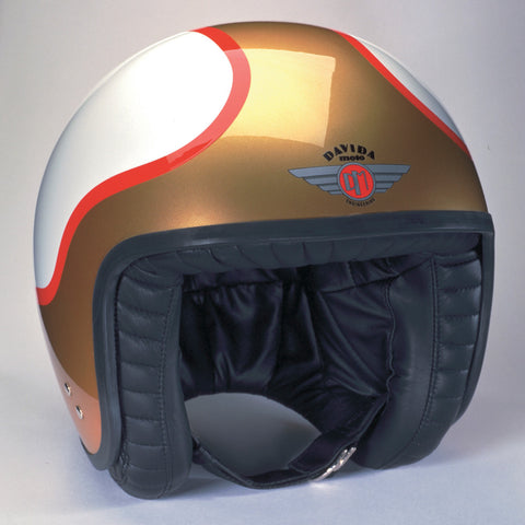 Davida Jet Helmet - TTDX White/Gold/Red - MOTORCYCLE GEAR 9MC