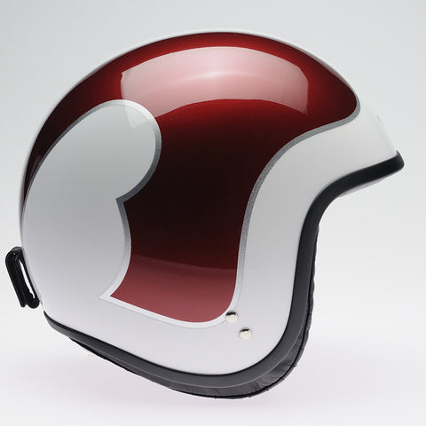 Davida Jet Helmet - White B Met Red Silver ps - MOTORCYCLE GEAR 9MC