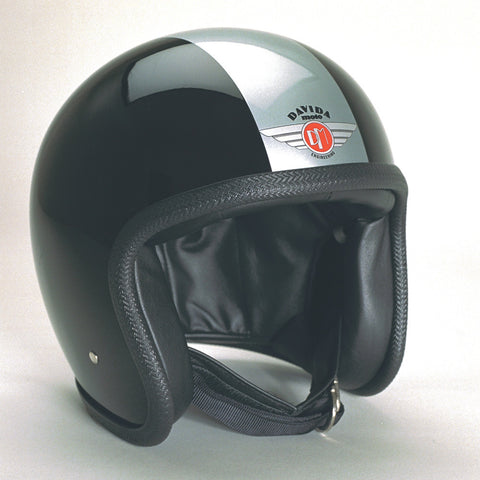 Davida Speedster v3 Helmet - Black-Silver-stripe - Davida Dot Approved MOTORCYCLE Helmet