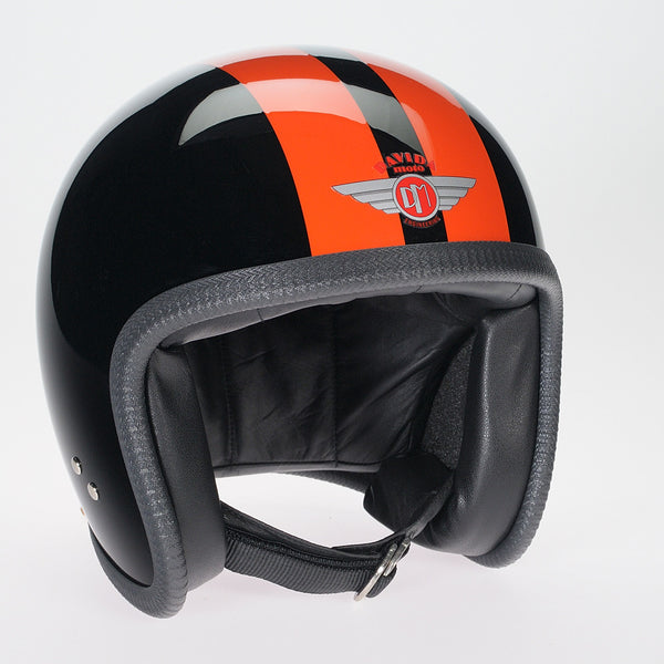 Davida Ninety Two Helmet - Black/2 P Orange Stripe - Davida Helmets