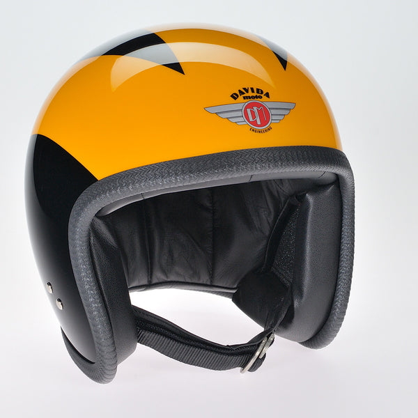 Davida Ninety Two Helmet - Black 3 Orange Lines - Davida Helmets