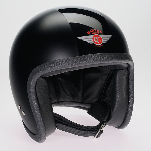 Davida Speedster v3 Helmet - Matt Black with Gloss Black stripe - MOTORCYCLE helmet