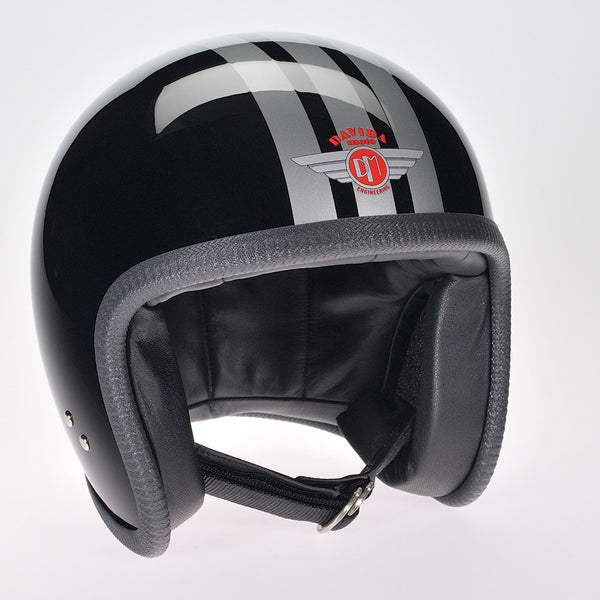 Davida Ninety Two Helmet - Black/Three Stripe Silver - Davida Helmets