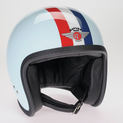 Davida Ninety Two Helmet - Eggshell Blue, Red/White/Blue Stripe - Davida Helmets