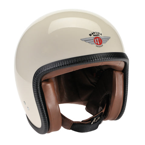 Davida Speedster v3 Helmet - Cream with ZNut Brown Leather - DOT Approved Davida Helmet
