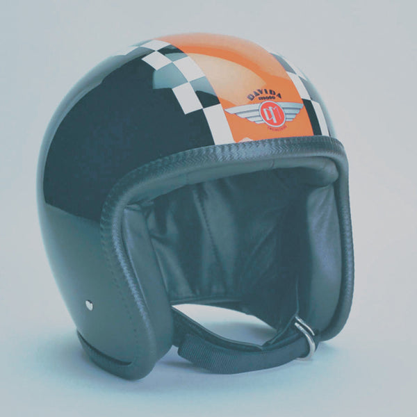 Davida Ninety Two Helmet - Black /Orange White Check - Davida Helmets