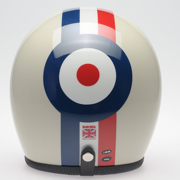 Davida Ninety Two Helmet - Cream Red/White/Blue/Stripe Target - Davida Helmets