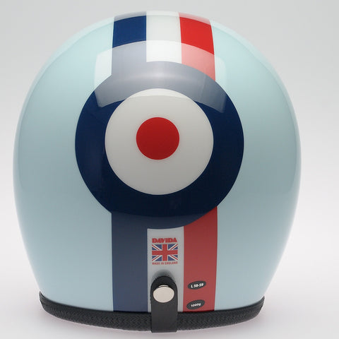 Davida Ninety Two Helmet - Eggshell Blue, Red/White/Blue/Stripe Target - Davida Helmets