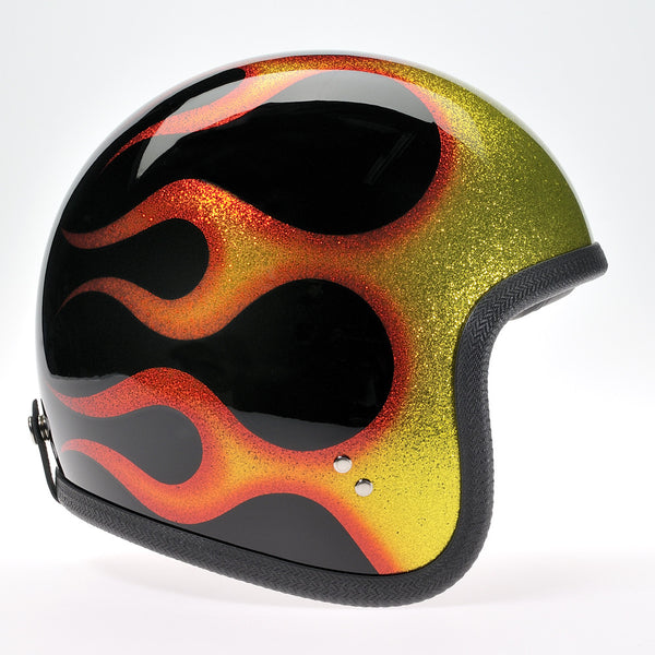 Davida Ninety Two Helmet - Cosmic Flake Black Orange Flames - Davida Helmets