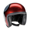 Davida Speedster v3 Helmet - Cosmic Flake Silver-Red Flame - Davida MOTORCYCLE DOT Approved Helmet