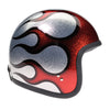 Davida Speedster v3 Helmet - Cosmic Flake Silver with Red Flame - Dot Approved MOTORCYCLE Helmet