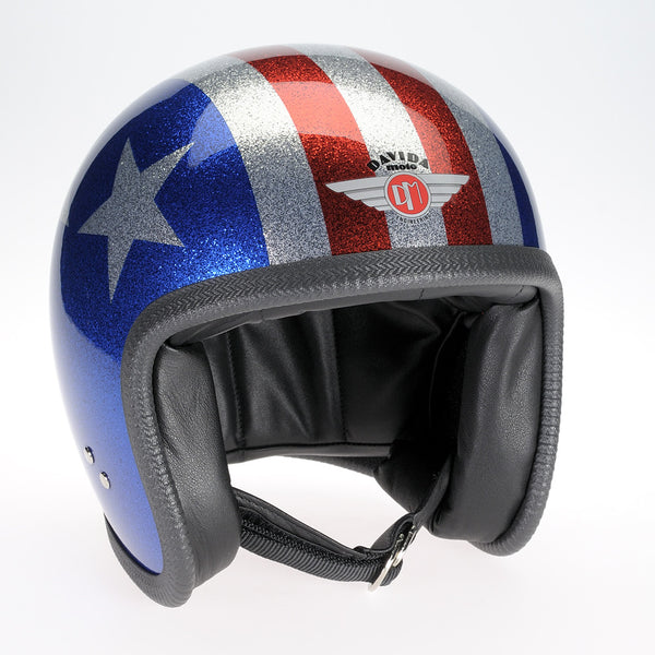 Davida Ninety Two Helmet - Cosmic Flake Blue Red 3 Star - Davida Helmets