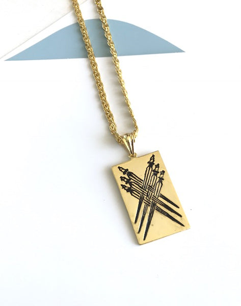 Six of Swords Pendant Necklace